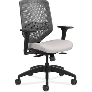 HON Solve Task Chair - ReActiv Back - Sterling Fabric Seat - Charcoal Back - Black Frame - Mid Back - Silver - Yes - 1 Each