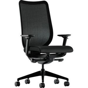 HON Nucleus Knit Mesh Back Task Chair - Black - Polyurethane - Yes - 1 Each