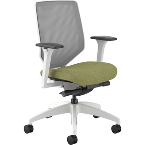 HON Solve Mid-Back Task Chair - Meadow Fabric Seat - Fog Back - White Frame - Mid Back - Green - Yes - 1 Each