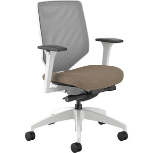 HON Solve Mid-Back Task Chair - Putty Fabric Seat - Fog Back - White Frame - Mid Back - Yes - 1 Each