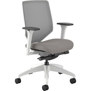 HON Solve Mid-Back Task Chair - Sterling Fabric Seat - Fog Back - White Frame - Mid Back - Silver - Yes - 1 Each