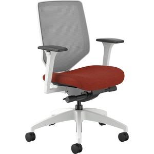 HON Solve Mid-Back Task Chair - Bittersweet Fabric Seat - Fog Back - White Frame - Mid Back - Yes - 1 Each
