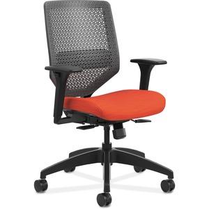 HON Solve Task Chair - ReActiv Back - Bittersweet Fabric Seat - Charcoal Back - Black Frame - Mid Back - Yes - 1 Each