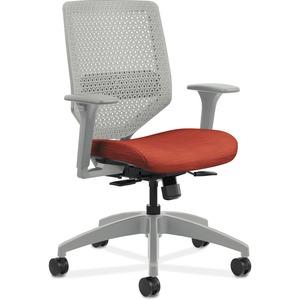 HON Solve Task Chair - ReActiv Back - Bittersweet Fabric Seat - Titanium Back - Black Frame - Yes - 1 Each