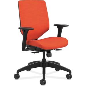 HON Solve Task Chair - Upholstered Back - Fabric Seat - Fabric Back - Black Frame - Mid Back - 5-star Base - Bittersweet - 1 Each