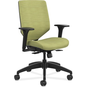 HON Solve Task Chair - Upholstered Back - Black Frame - Mid Back - 5-star Base - Meadow - 1 Each