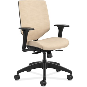 HON Solve Task Chair - Upholstered Back - Fabric Seat - Charcoal Fabric Back - Black Frame - Mid Back - 5-star Base - Putty - 1 Each