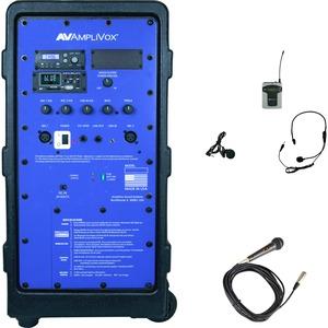 AmpliVox Titan Wireless Portable PA System - 100 W Amplifier - Battery-AC Supply - Built-i