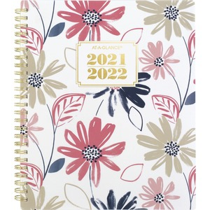 At-A-Glance Badge Floral Academic Planner - Academic - Weekly, Monthly - 1.1 Year - July till July - 1 Week, 1 Month Double Page Layout - Twin Wire - Multi, White, Gold - 7