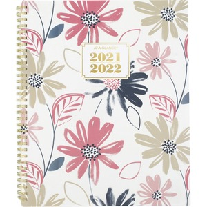 At-A-Glance Badge Floral Academic Planner - Academic - Weekly, Monthly - 1.1 Year - July till July - 1 Week, 1 Month Double Page Layout - Twin Wire - Multi, White, Gold - 8.5