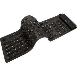 Adesso AKB-230 Full Sized Flexible Portable Waterproof Keyboard Black PS/2 USB for Windows
