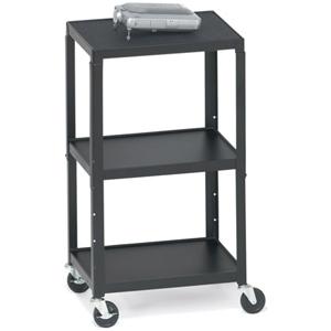 Bretford A2642-P5 Height Adjustable A/V Cart - Steel - Black