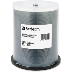 Verbatim CD-R 700MB 52X White Inkjet Printable-Hub Printable - 100pk Spindle - Printable -