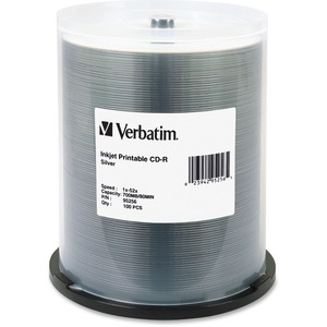 Verbatim CD-R 700MB 52X DataLifePlus Silver Inkjet Printable - 100pk Spindle - Printable -
