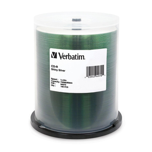 Verbatim CD-R 700MB 52X Shiny Silver Silk Screen Printable - 100pk Spindle - 700MB - 100 P