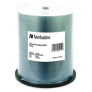 Verbatim CD-R 700MB 52X White Inkjet Printable - 100pk Spindle - 700MB - 100 Pack