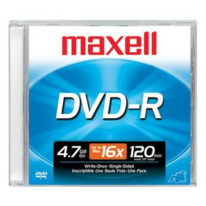 Maxell DVD Recordable Media - DVD-R - 16x - 4.70 GB - 1 Pack Jewel Case 638000