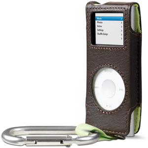 Belkin Carabiner Case for iPod nano - Slide Insert - Leather - Dark Brown-Black