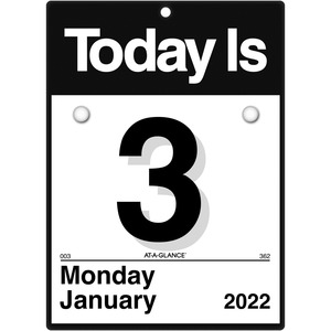 At-A-Glance Today Is Wall Calendar - Julian Dates - Daily - 1 Year - January 2022 till December 2022 - 1 Day Single Page Layout - 6 5/8