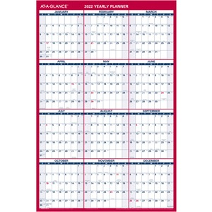 At-A-Glance Erasable/Reversible Yearly Wall Planner - Yes - Yearly - 1 Year - January 2020 till December 2020 - 36