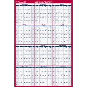 At-A-Glance Jumbo Erasable/Reversible Yearly Wall Planner - Yearly - 1 Year - January 2022 till December 2022 - 48