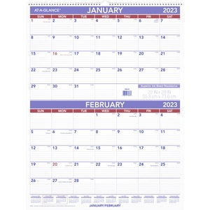 At-A-Glance 2-Month Wall Calendar - Monthly - 1 Year - January 2020 till December 2020 - 2 Month Single Page Layout - 29