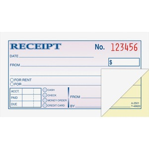 Adams Money/rent Receipt Books - 50 Sheet(s) - Tape Bound - 2 Part - 2.75