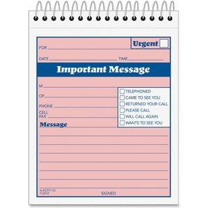 Adams Spiral-bound Phone Message Booklet - 50 Sheet(s) - Spiral Bound - 4