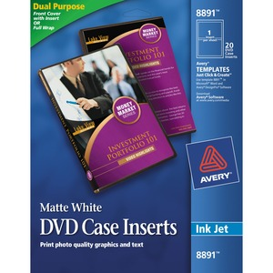 avery reg 8891 avery jewel case insert matte 20 pack white