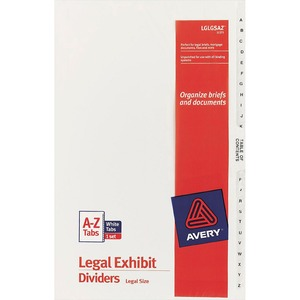 lglgsaz avery premium collated legal exhibit divider sets avery