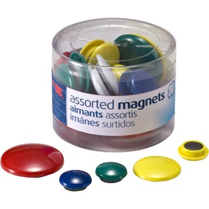 OIC Round Handy Magnets - Red, Yellow, White, Blue, Green - Magnet - 30 / Pack