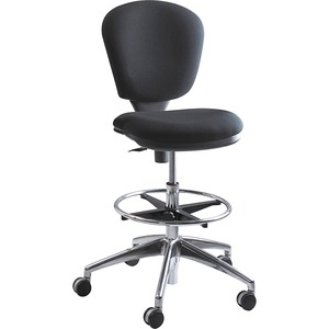 Safco Metro Extended Height Chair - Black Acrylic Seat - 5-star Base - 1 Each
