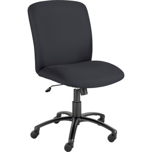 Safco Big & Tall Executive High-Back Chair - Black Foam, Polyester Seat - Polyester Back - Black Steel Frame - 5-star Base - Black - 1 Each