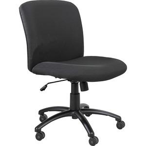 Safco Big & Tall Executive Mid-Back Chair - Black Foam, Polyester Seat - Black Frame - 5-star Base - Black - 1 Each