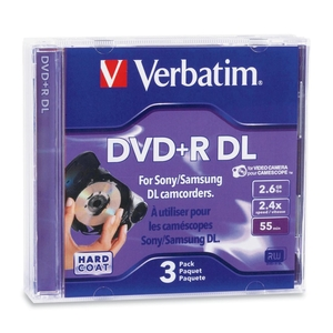 Verbatim 95313 DVD Recordable Media   DVD+R DL   2.4x   2.60 GB   3 Pack Jewel Case