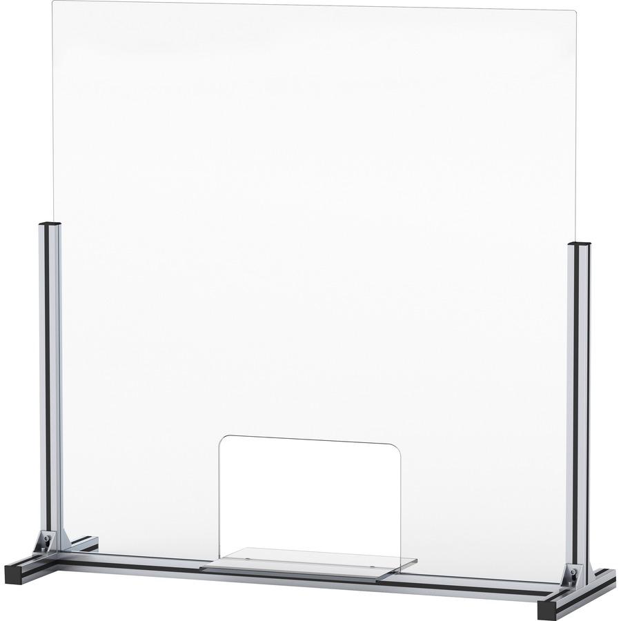 Lorell glass barrier with pass through & shelf
