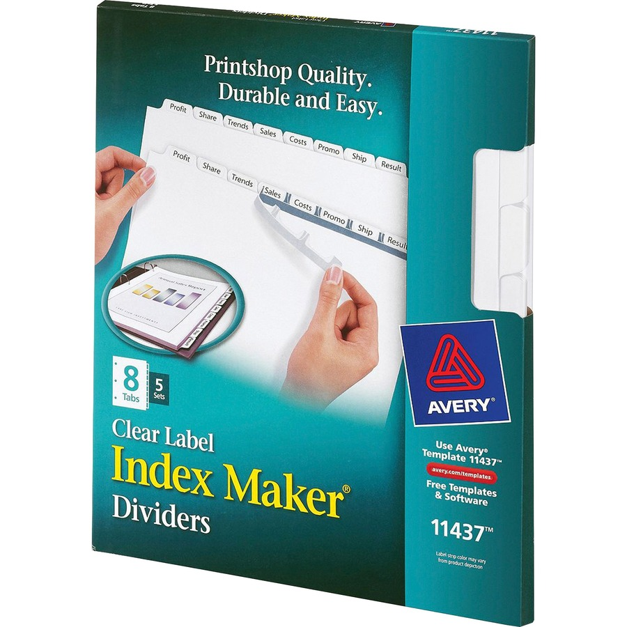 Avery 11437 avery index maker clear label divider with for Avery easy apply 5 tab template