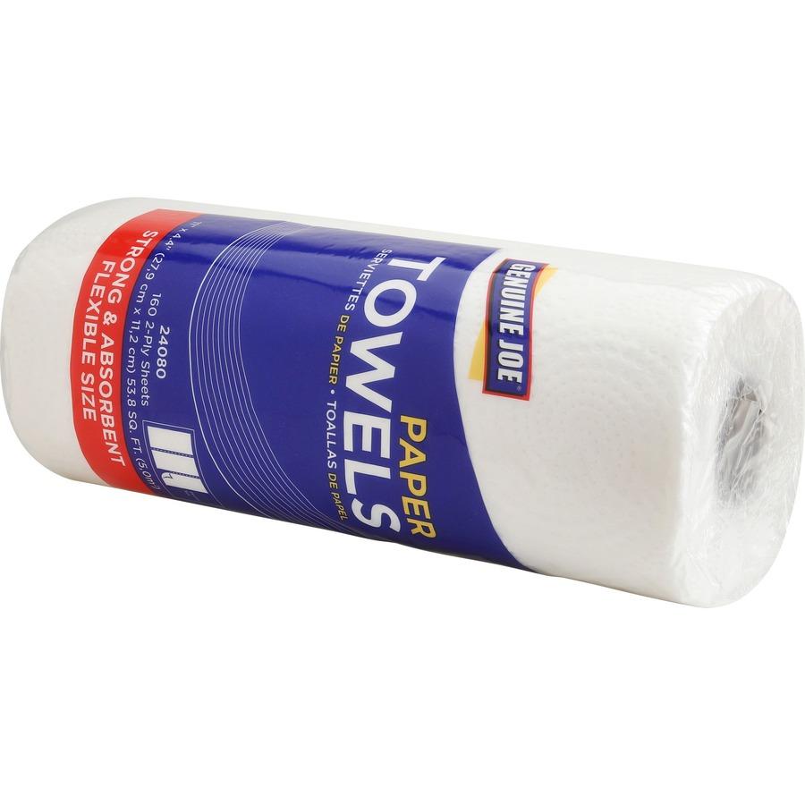 Genuine Joe 2-Ply Household Roll Paper Towels - 2 Ply - 8 80