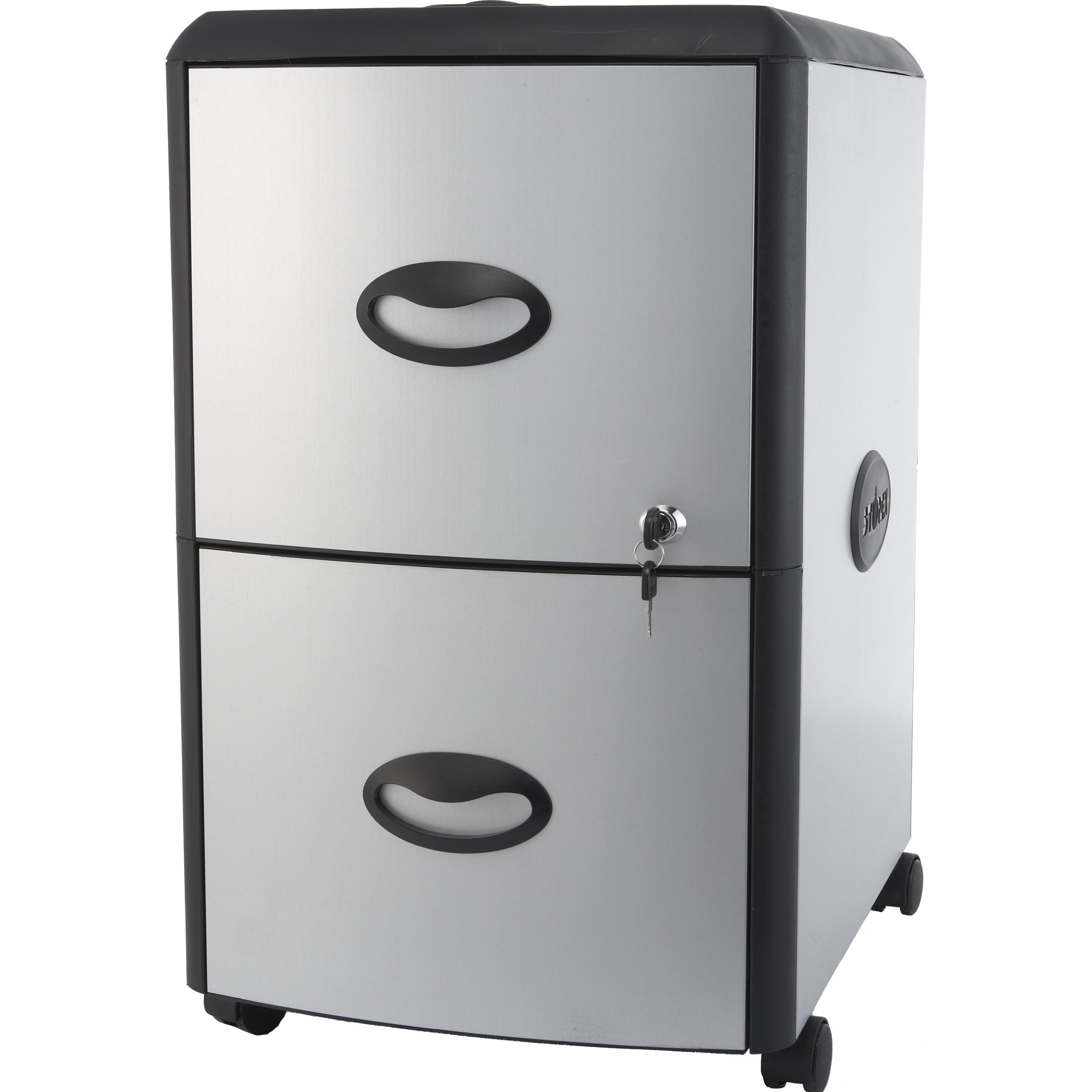 Storex 2-Drawer Mobile File Cabinet with Lock and Casters Gray//Gray Legal//Letter