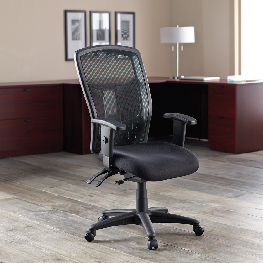 "<p>Executive High-back Mesh Chair cradles you during a hard day at work with a breathable mesh back and mesh fabric seat. The ergonomic mesh back supports the natural curvature of your back for less strain during work at the computer or meetings at your desk. Multifunction control adjusts seat and back angles independently with two levers for infinite locking within a fixed range. For more individualized comfort, arms adjust in height and width, and the seat height from floor adjusts from 17"" to 21"". High-back chair also swivels 360 degrees and tilts with the pivot point located directly above the center of the chair base. Five-star nylon base is equipped with smooth-rolling casters for easily moving the chair where needed. Weight capacity is 275 lb. High-back chair is available in black frame only and meets the CA117 fire-retardant standard.Executive High-back Mesh Chair cradles you during a hard day at work with a breathable mesh back and mesh fabric seat. The ergonomic mesh back supports the natural curvature of your back for less strain during work at the computer or meetings at your desk. Multifunction control adjusts seat and back angles independently with two levers for infinite locking within a fixed range. For more individualized comfort, arms adjust in height and width, and the seat height from floor adjusts from 17"" to 21"". High-back chair also swivels 360 degrees and tilts with the pivot point located directly above the center of the chair base. Five-star nylon base is equipped with smooth-rolling casters for easily moving the chair where needed. Weight capacity is 275 lb. High-back chair is available in black frame only and meets the CA117 fire-retardant standard.</p>"