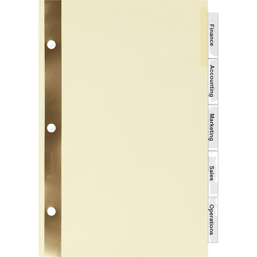 avery buff colored insertable dividers gold reinforced