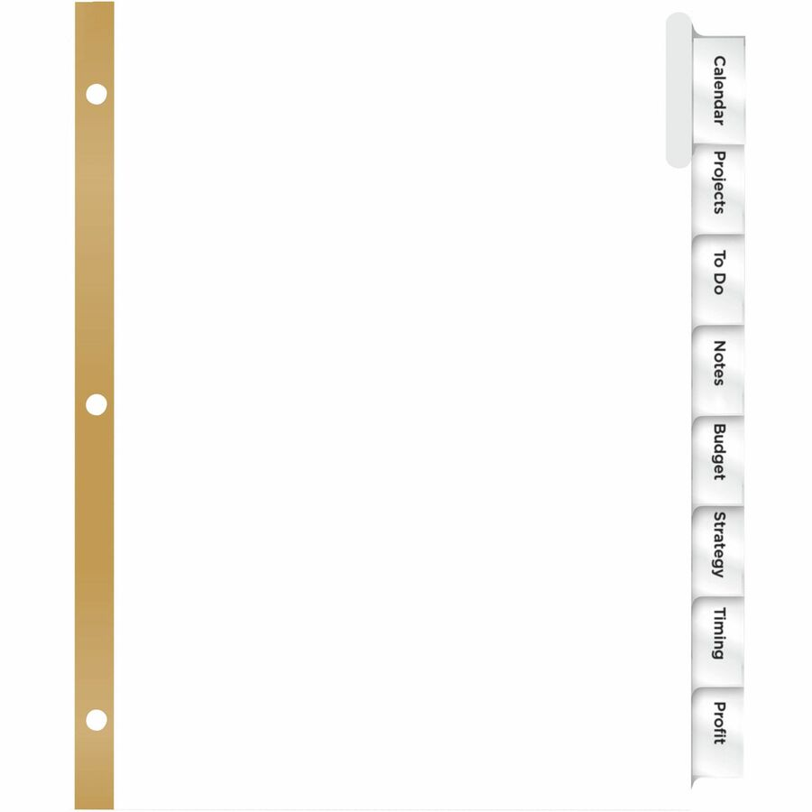 avery big tab white insertable dividers gold reinforced 8 x dividers print on tabs 8 tabsset11 divider length letter 3 hole punched