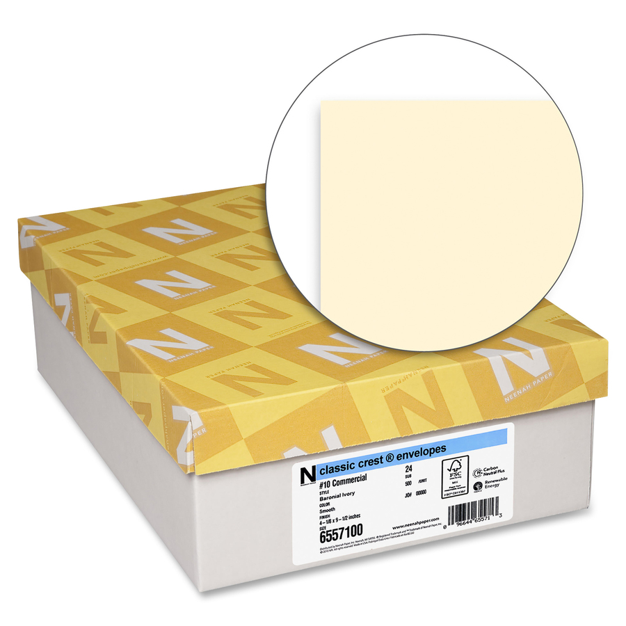 Clic Crest Commercial Flap Envelopes 10 24lb Smooth Finish 500 Box Baronial Ivory