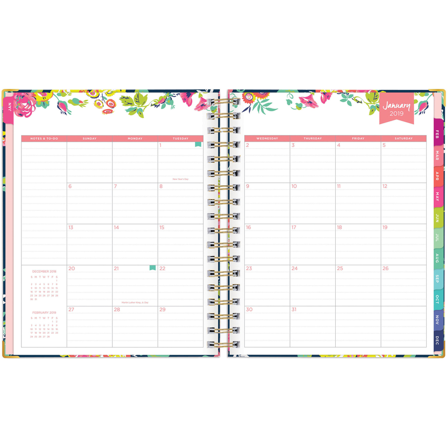Blue Sky 7x9 Navy Floral Weekly Monthly Planner