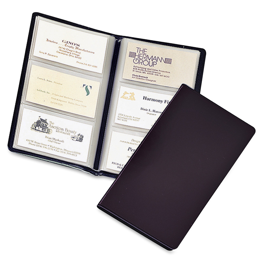 cardinal business card file 72 capacity 438 width x 775 length black vinyl cover - Business Card File