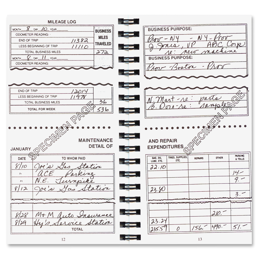 dome auto mileage expense record book kopy kat office