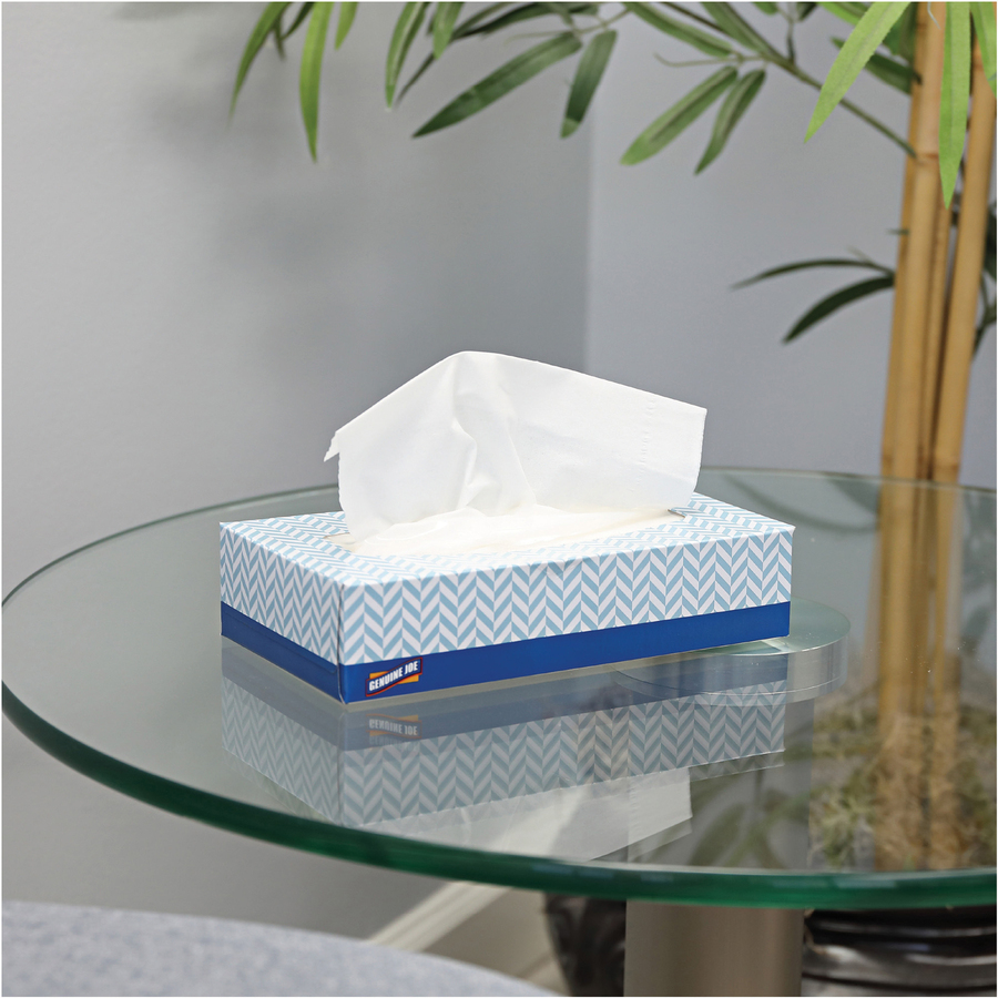 Genuine Joe 2-Ply Facial Tissue - 30 Boxes - 2 Ply - White - Soft - 100 Quantity Per Box - 30 / Carton