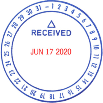 Cosco Round Received Daters Message Date Stamp Received 1 63 Impression Diameter Blue Red 1 Each