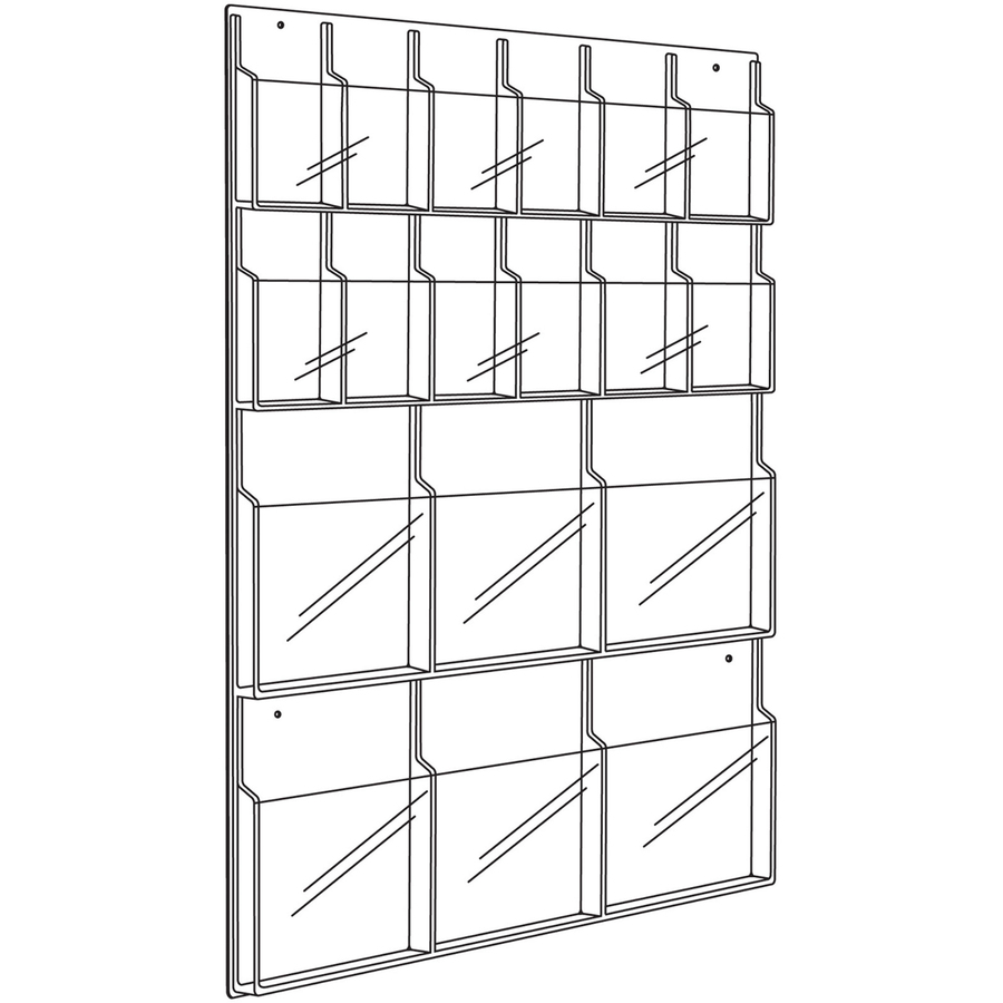 Safco Magazine Pamphlet Display Rack 18 Pocket S 45 Height X 30 Width X 2 Depth Wall Mountable Clear Plastic 1each