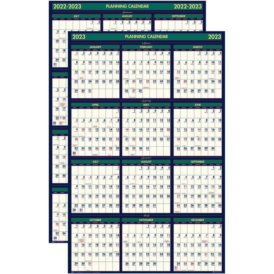 2022 Julian Calendar.House Of Doolittle Eco Friendly 18 Month Laminated Wall Calendar